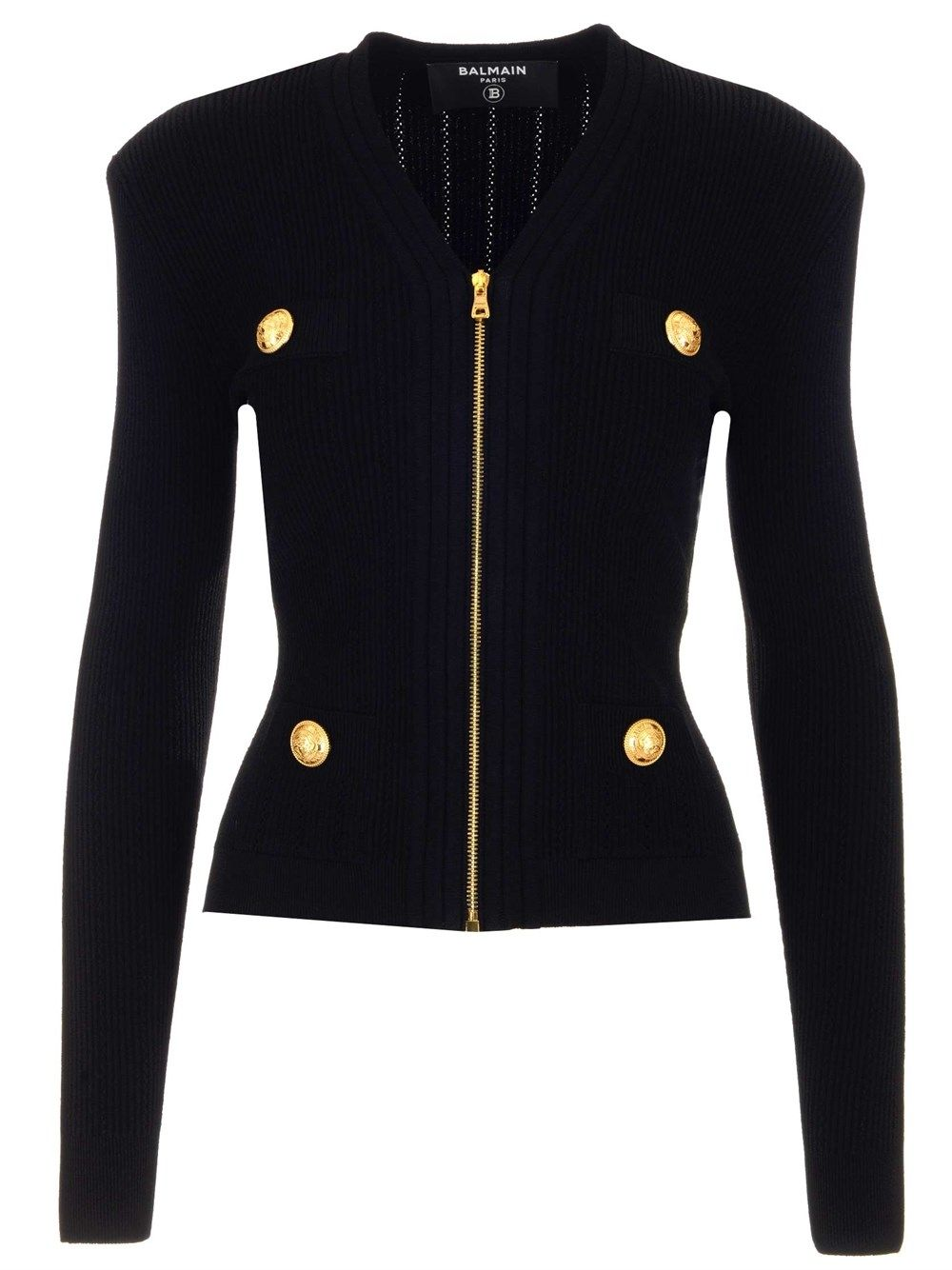 Balmain BALMAIN WOMEN'S BLACK OTHER MATERIALS JACKET
