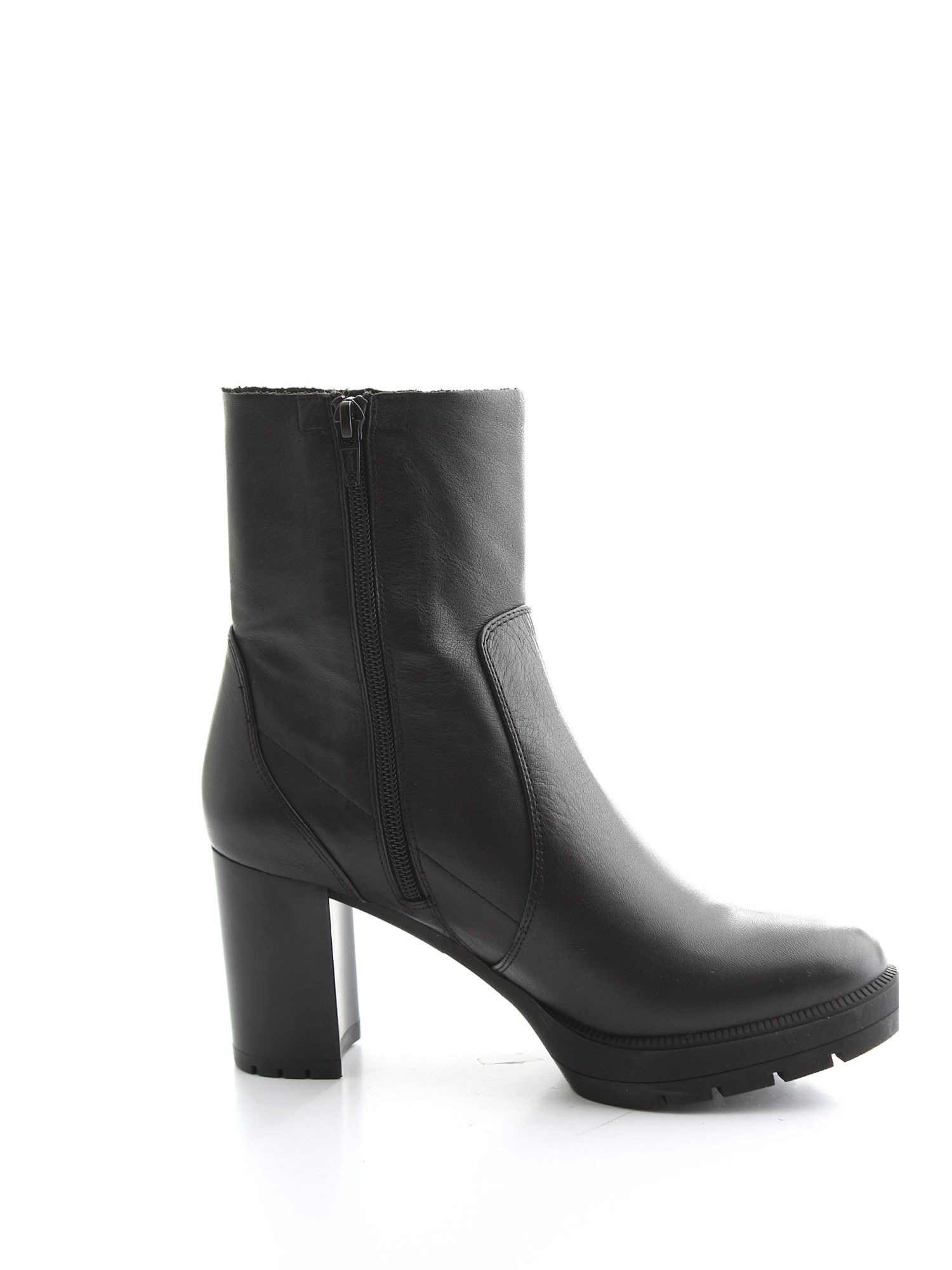 Unisa BLACK LEATHER ANKLE BOOTS