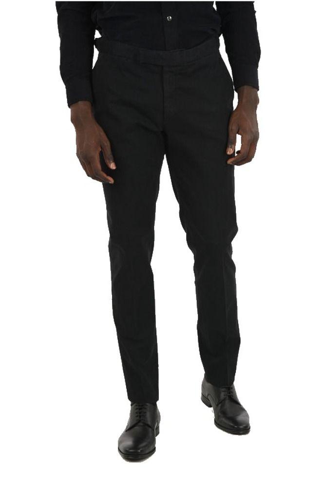 ERMENEGILDO ZEGNA ERMENEGILDO ZEGNA MEN'S BLACK COTTON PANTS