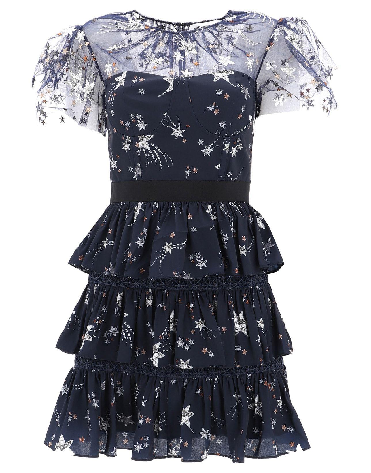 c079df1a9865 Self-Portrait Women's Sp20120Navy Blue Polyester Dress   ModeSens