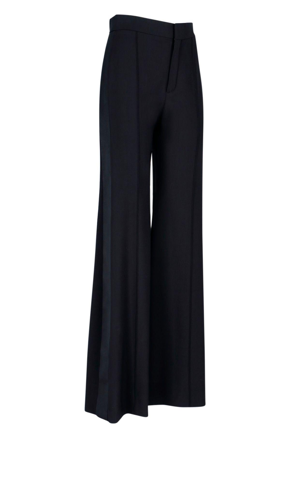 CHLOÉ Wide leg pants CHLOÉ WOMEN'S BLACK SYNTHETIC FIBERS PANTS