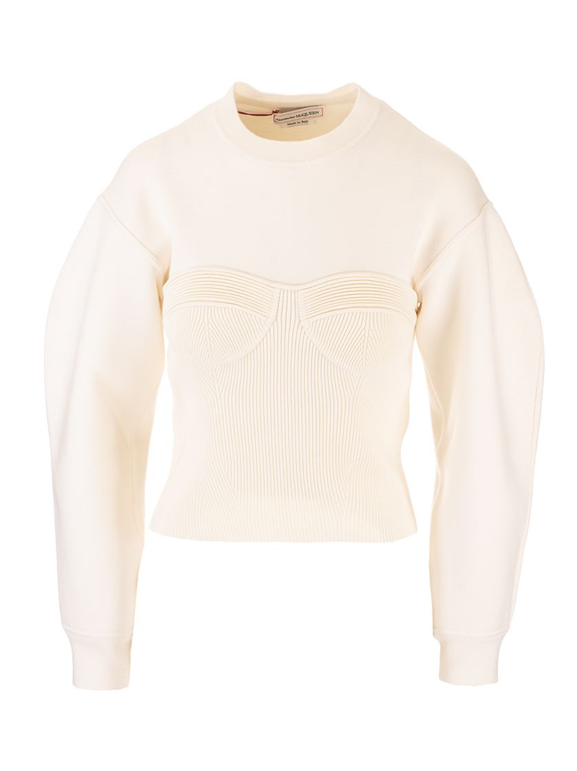 Alexander Mcqueen ALEXANDER MCQUEEN WOMEN'S WHITE OTHER MATERIALS SWEATER