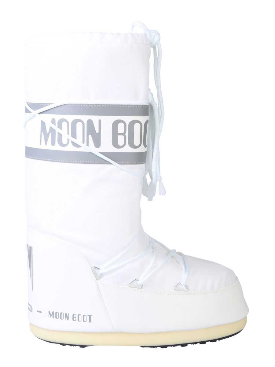 MOON BOOT WHITE NYLON BOOTS