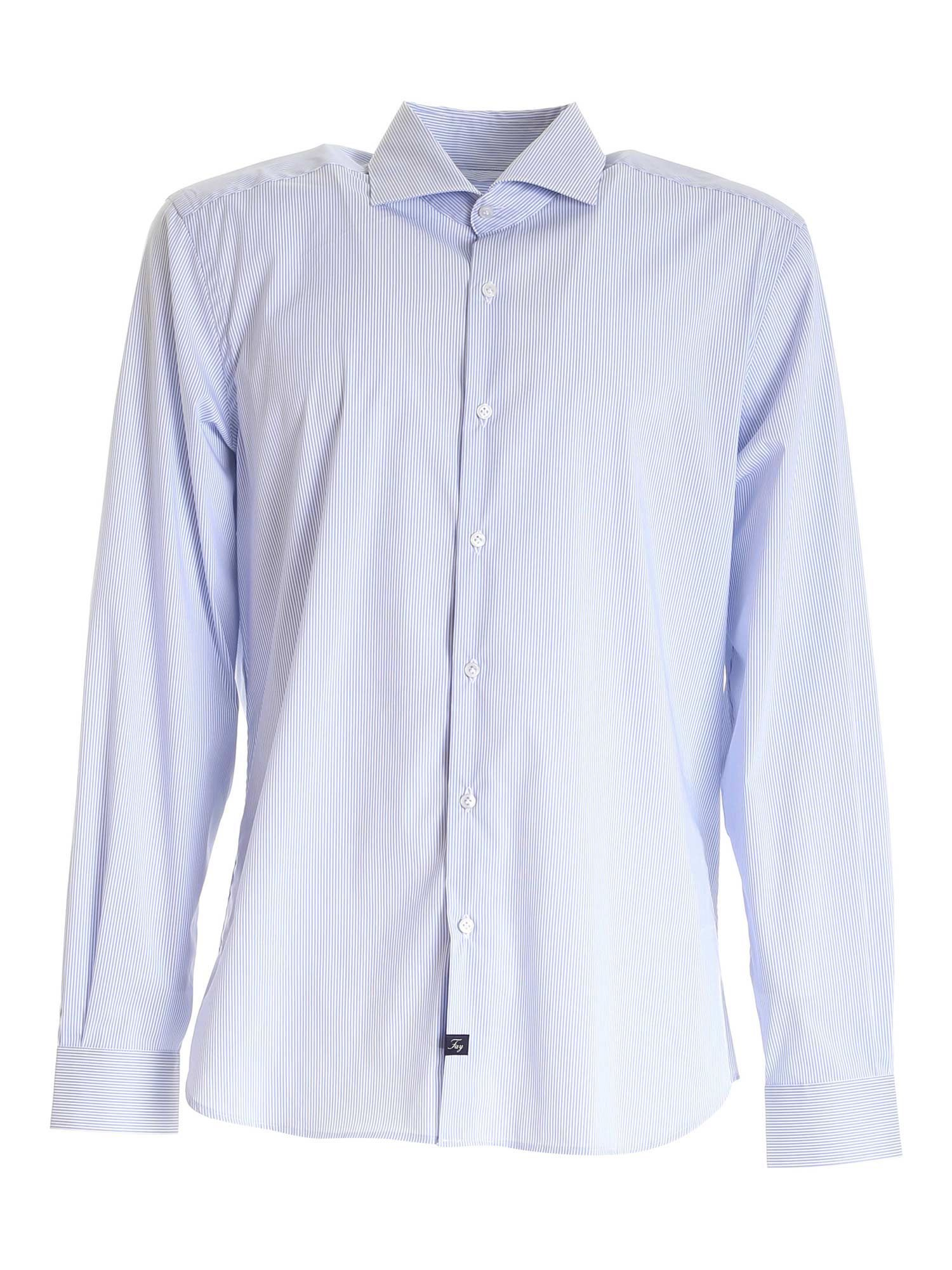 Fay FAY MEN'S LIGHT BLUE OTHER MATERIALS SHIRT