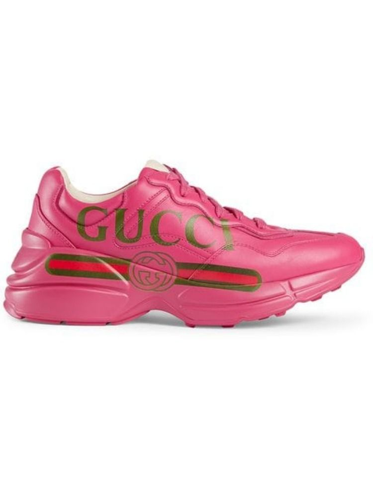 Gucci Rhyton Logo-Print Leather Sneakers In 5752 Pink