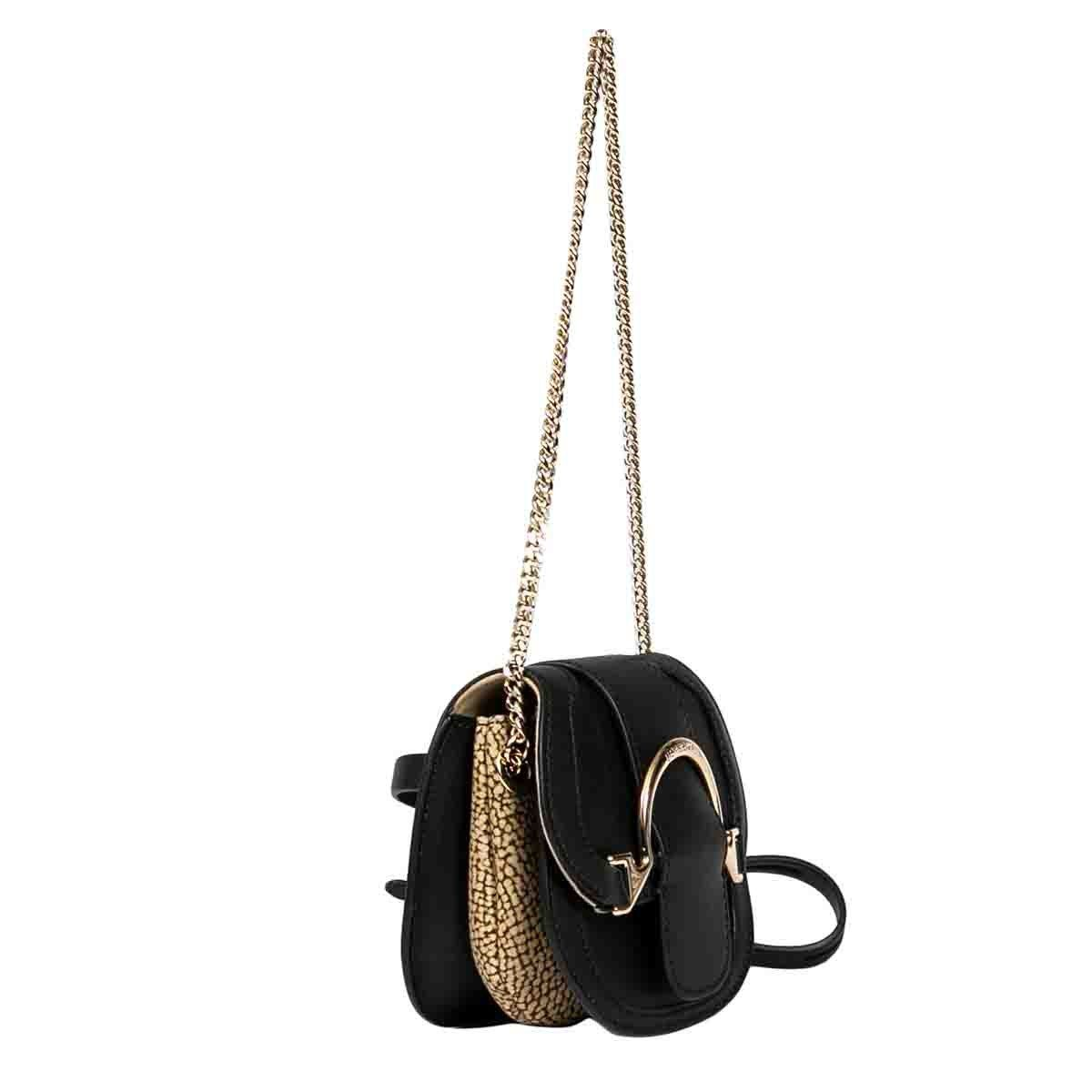 BORBONESE Leathers BORBONESE WOMEN'S BLACK LEATHER SHOULDER BAG