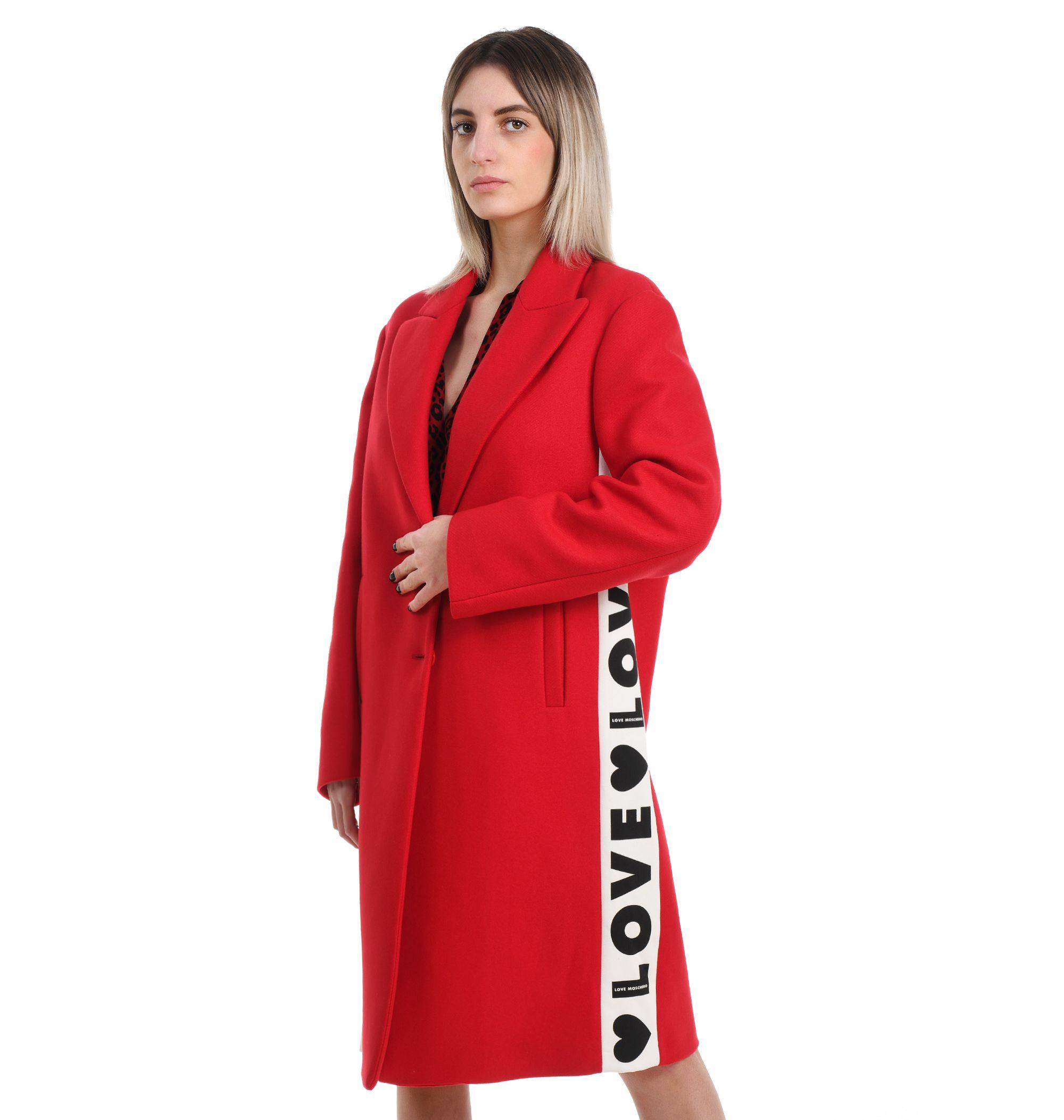 Love Moschino LOVE MOSCHINO WOMEN'S RED WOOL COAT
