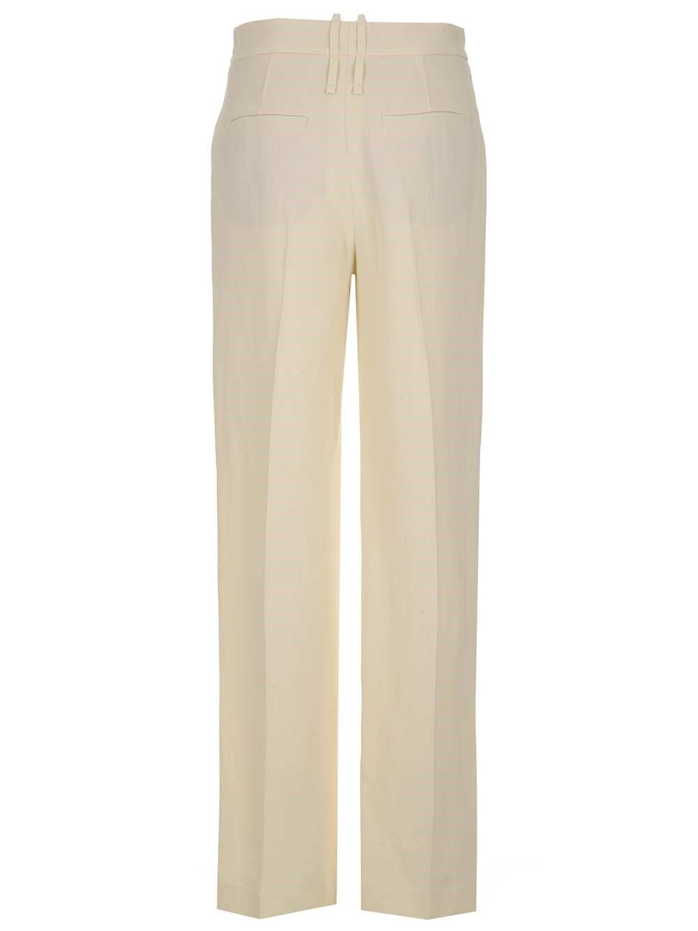 BRUNELLO CUCINELLI Cottons BRUNELLO CUCINELLI WOMEN'S WHITE OTHER MATERIALS PANTS