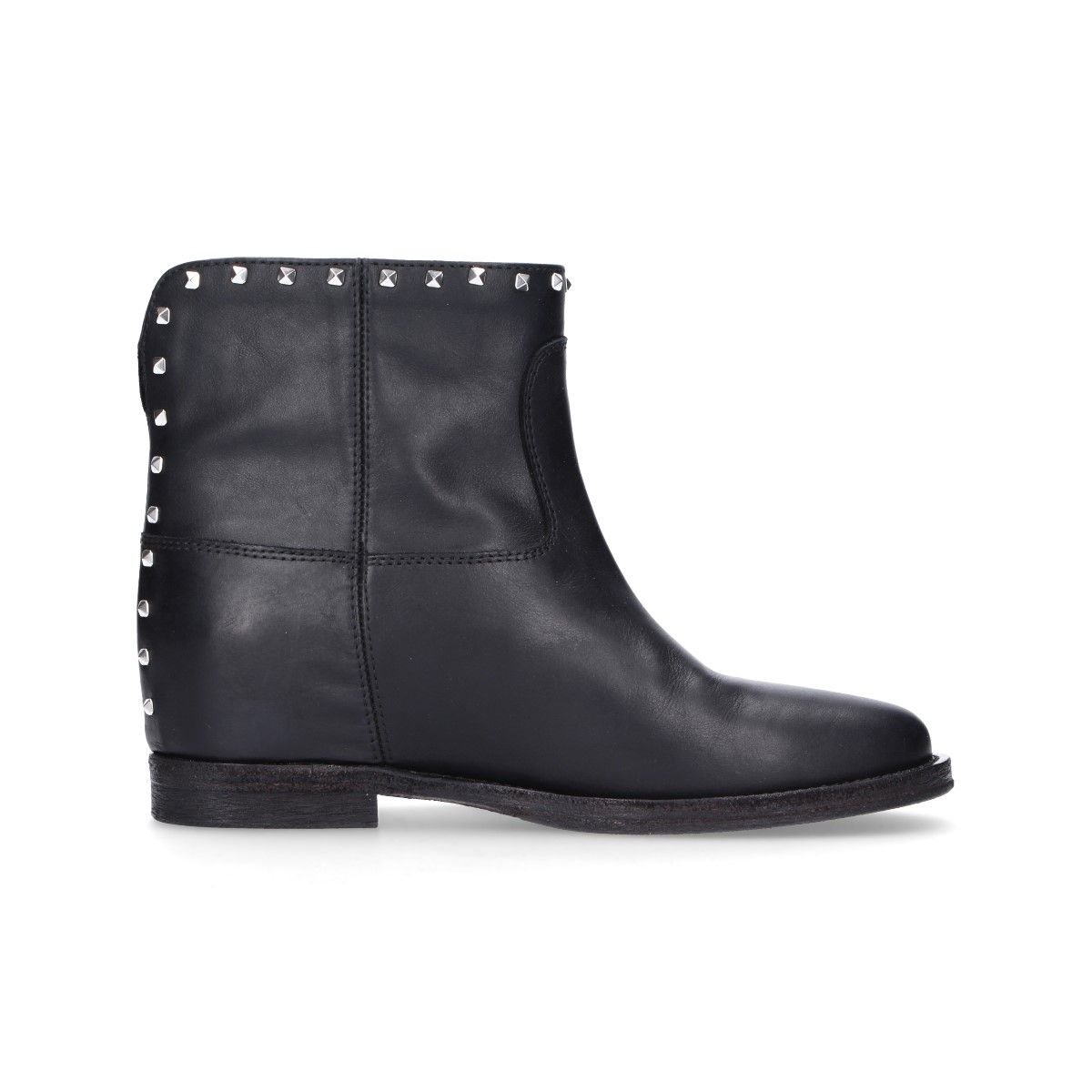 Via Roma 15 BLACK LEATHER ANKLE BOOTS