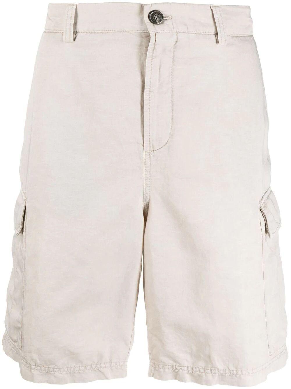 Brunello Cucinelli Shorts BRUNELLO CUCINELLI MEN'S BEIGE COTTON SHORTS