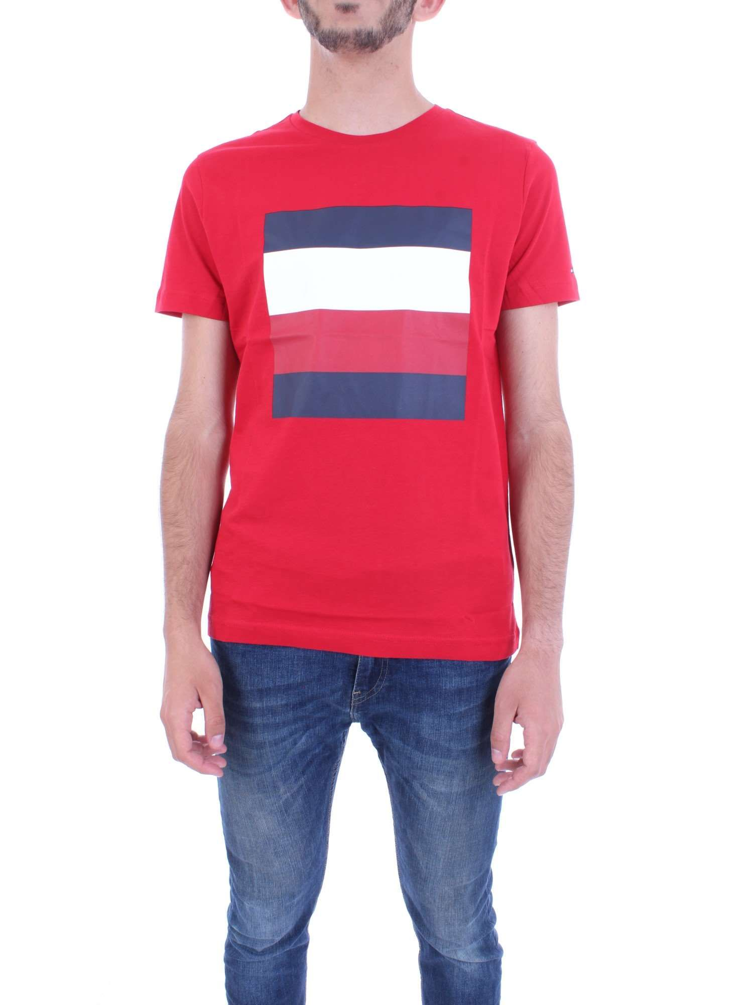 Tommy Hilfiger Signature Stripe T-shirt In Red