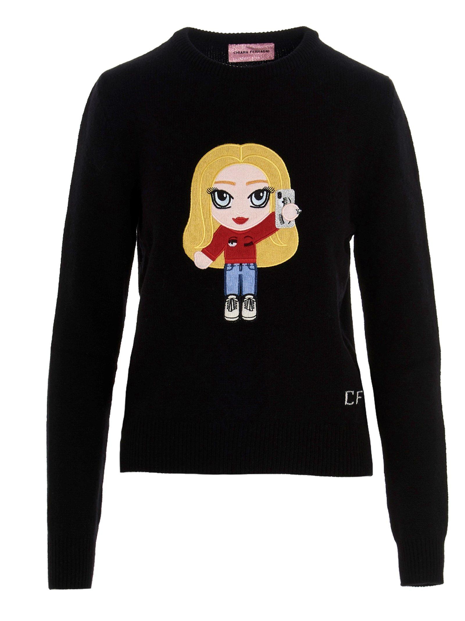 Chiara Ferragni Sweaters CHIARA FERRAGNI WOMEN'S BLACK OTHER MATERIALS SWEATER