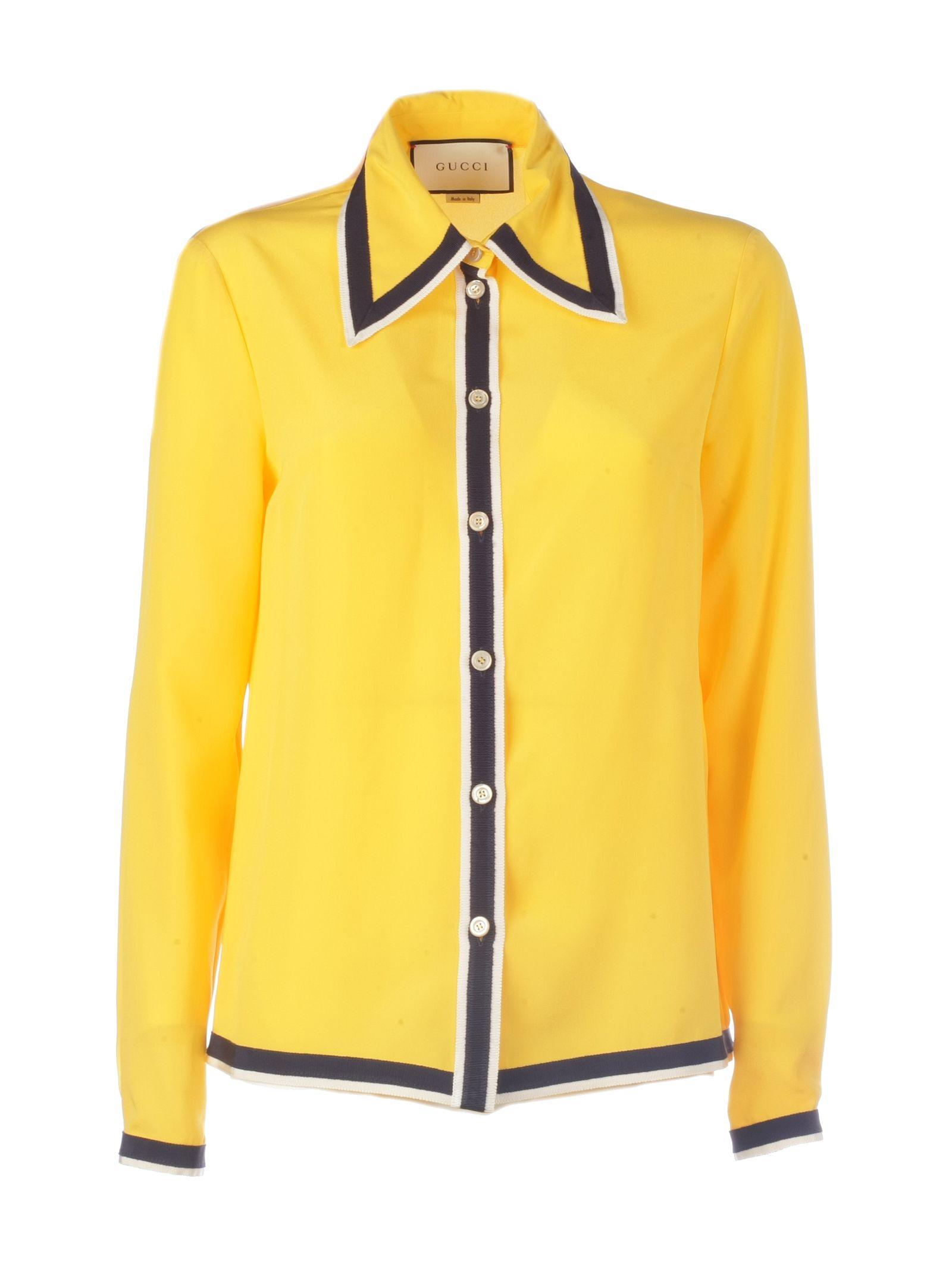 Gucci Women's 550513Zaaog7291 Yellow Silk Shirt