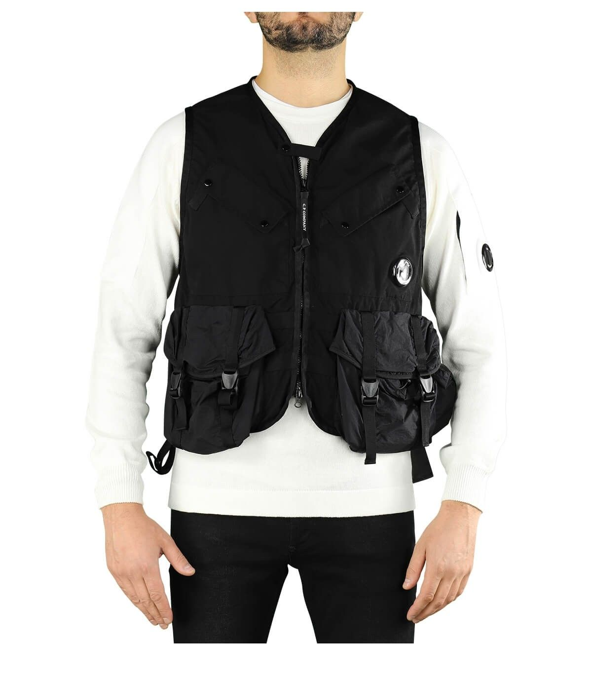 C.p. Company Vests CP COMPANY MEN'S BLACK POLYESTER VEST