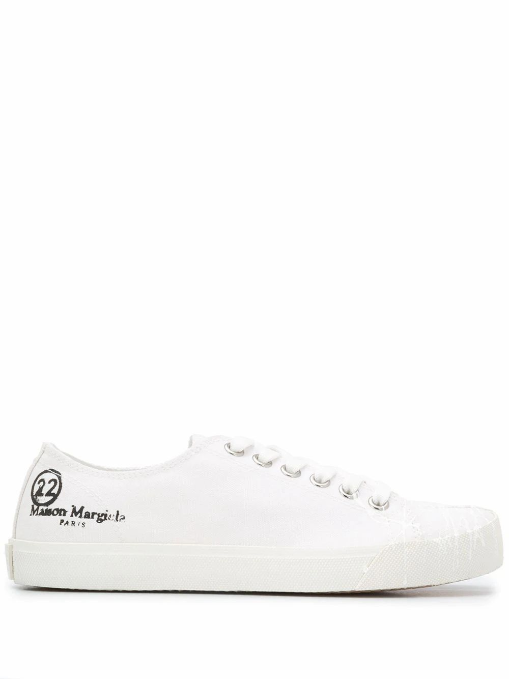 Maison Margiela Leathers MAISON MARGIELA WOMEN'S WHITE COTTON SNEAKERS