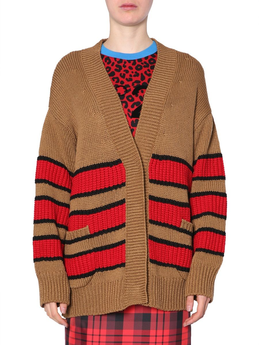 N°21 Striped Oversized Snap-Front Cotton Cardigan In Brown