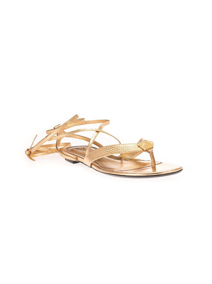 VALENTINO Flats VALENTINO GARAVANI WOMEN'S GOLD OTHER MATERIALS SANDALS