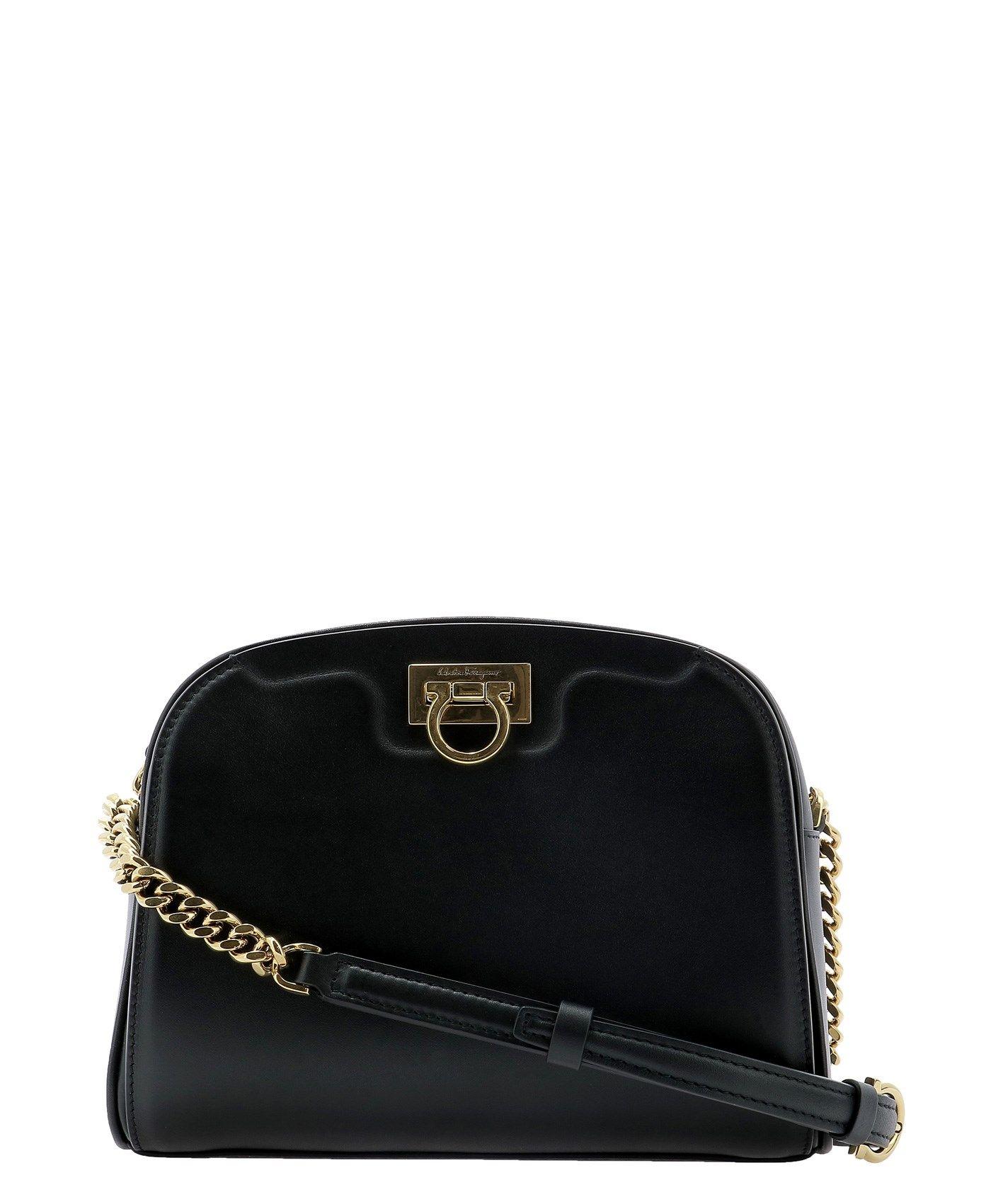 Salvatore Ferragamo SALVATORE FERRAGAMO WOMEN'S BLACK OTHER MATERIALS SHOULDER BAG