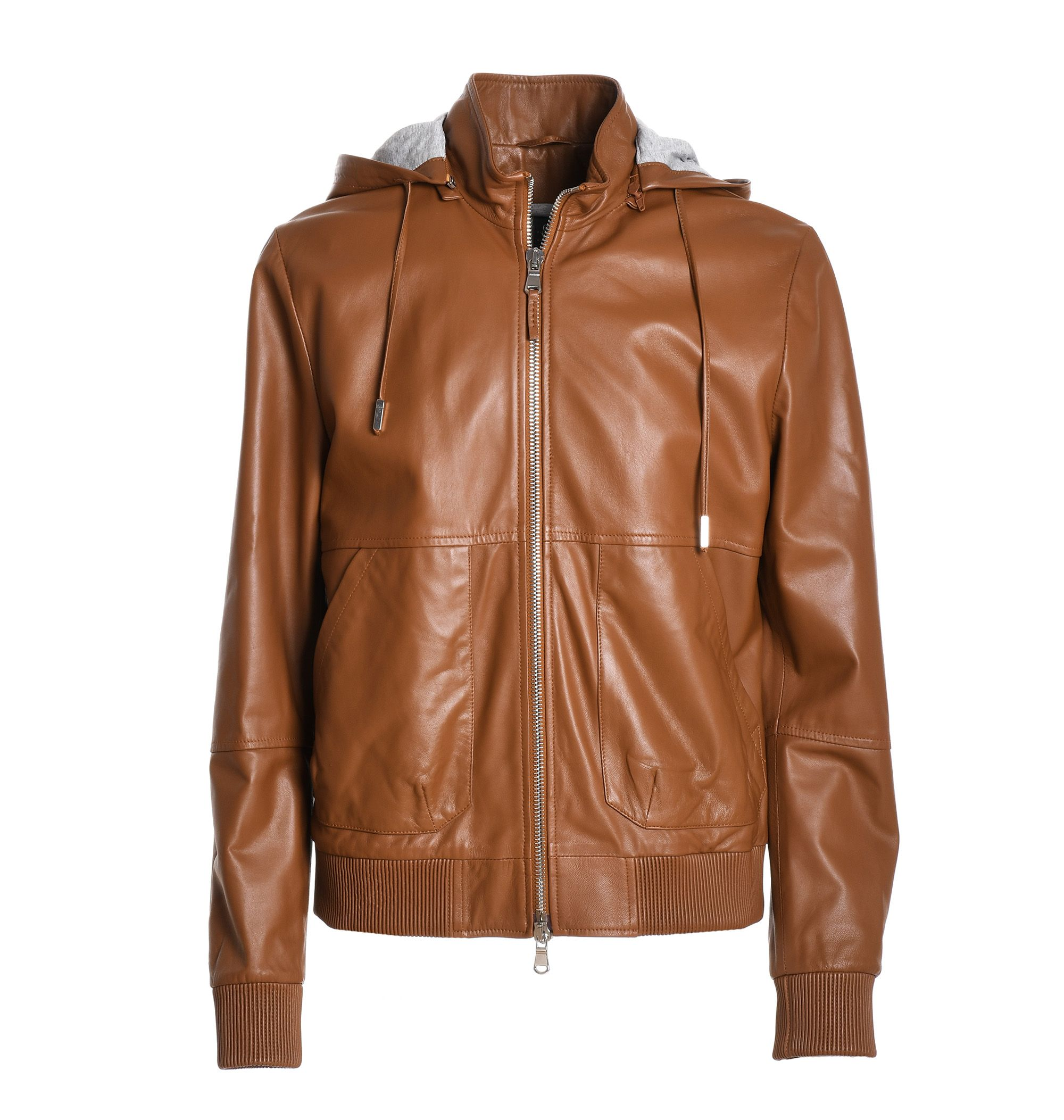 Eleventy Leathers BROWN LEATHER JACKET