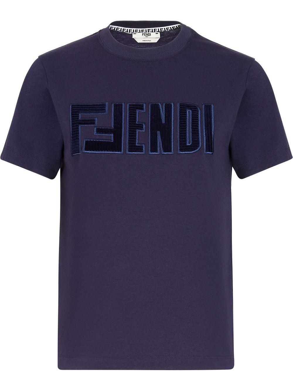 Fendi Cottons FENDI WOMEN'S BLUE COTTON T-SHIRT