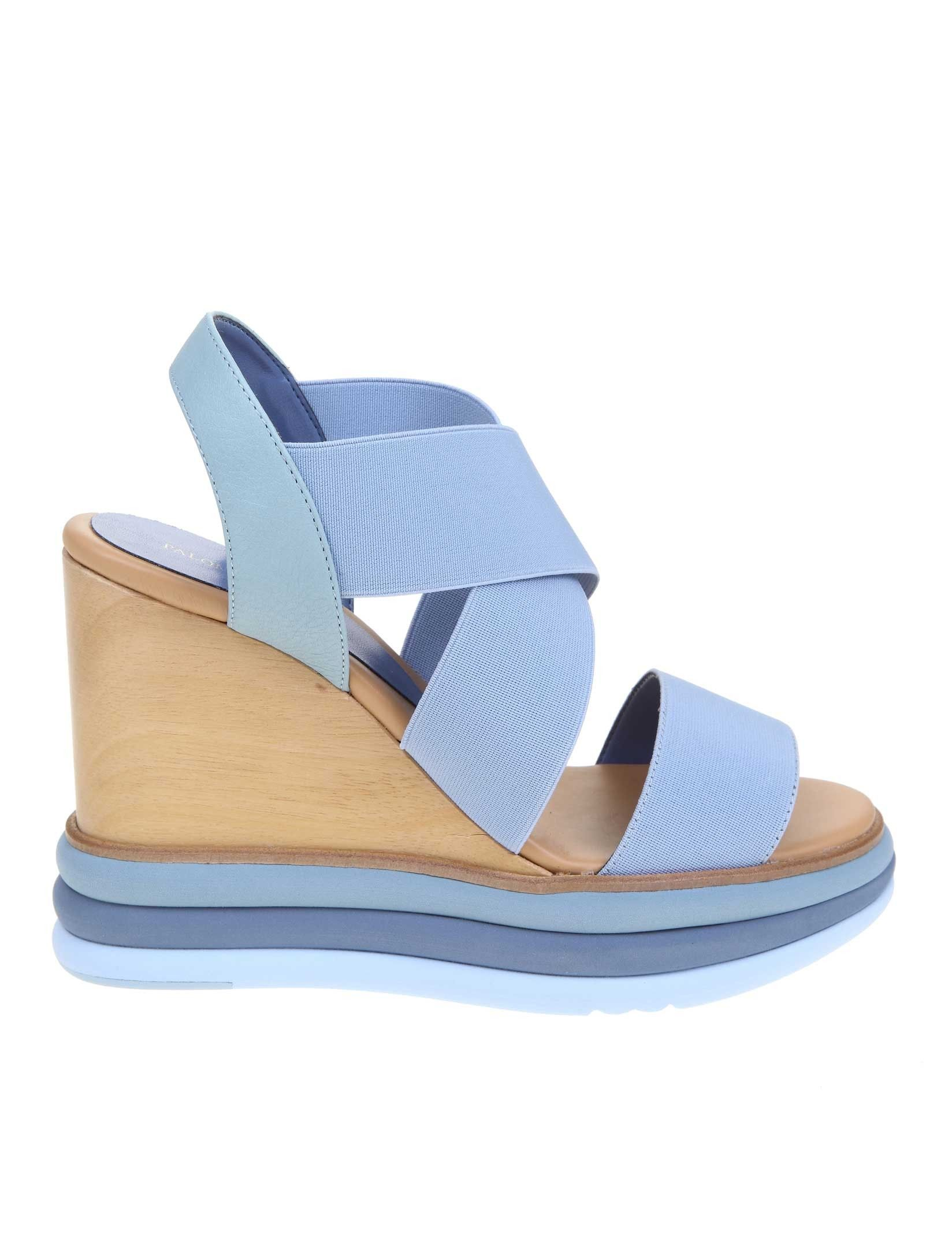Paloma Barceló LIGHT BLUE FABRIC WEDGES