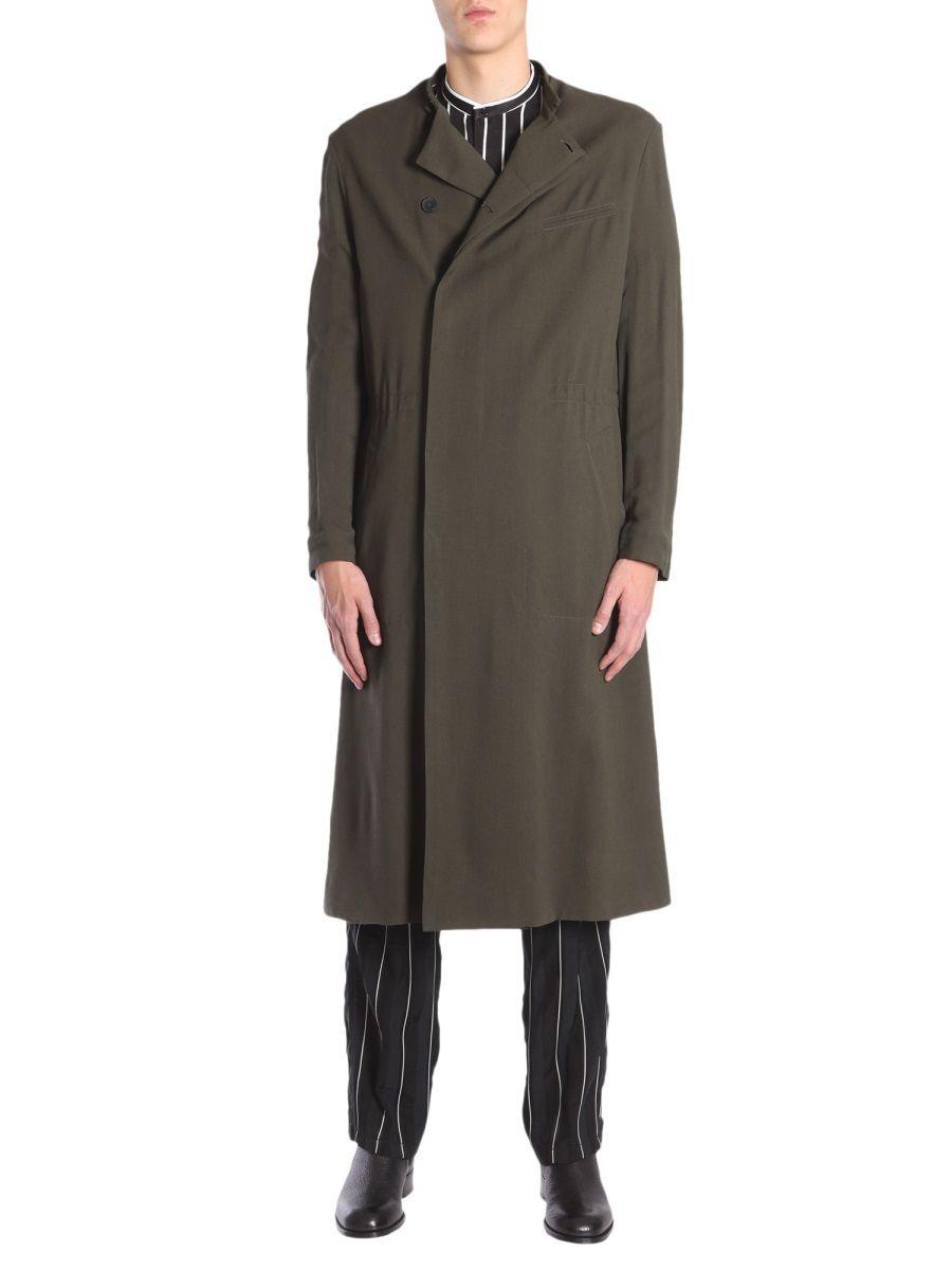 Haider Ackermann Azurite Khaki Silk Jersey Coat In Green