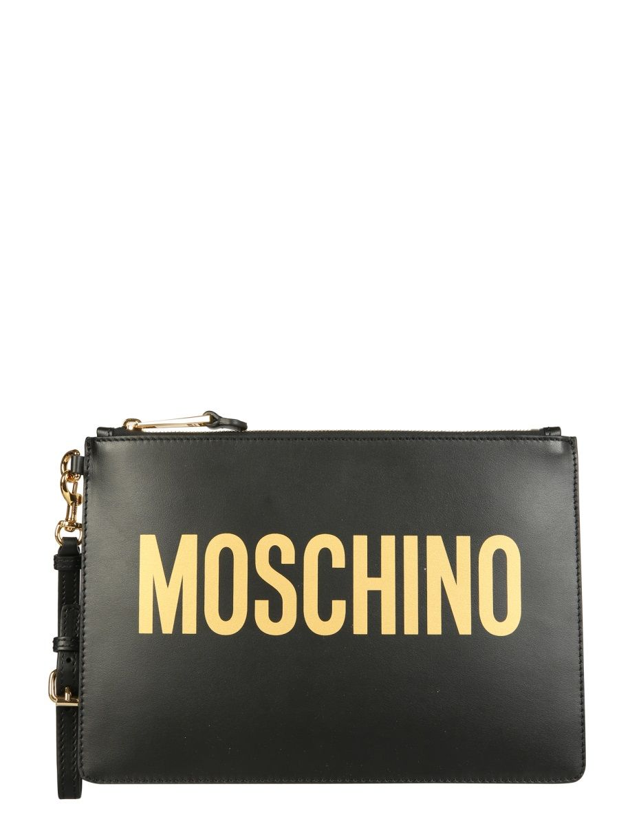 Moschino MOSCHINO WOMEN'S BLACK OTHER MATERIALS POUCH