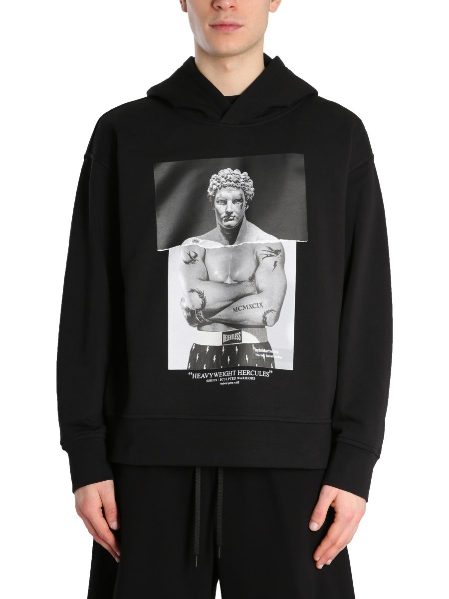 NEIL BARRETT Cottons NEIL BARRETT MEN'S BLACK OTHER MATERIALS SWEATSHIRT
