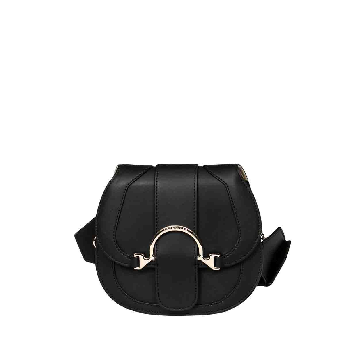 Borbonese BORBONESE WOMEN'S BLACK LEATHER SHOULDER BAG