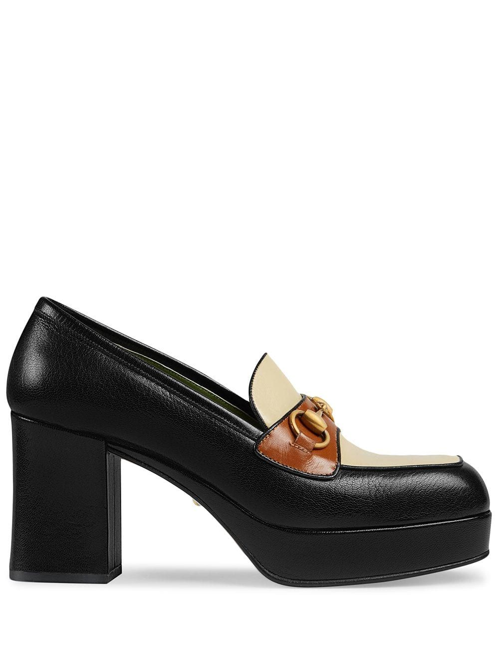 Gucci Leather Platform Loafer With Horsebit In Black