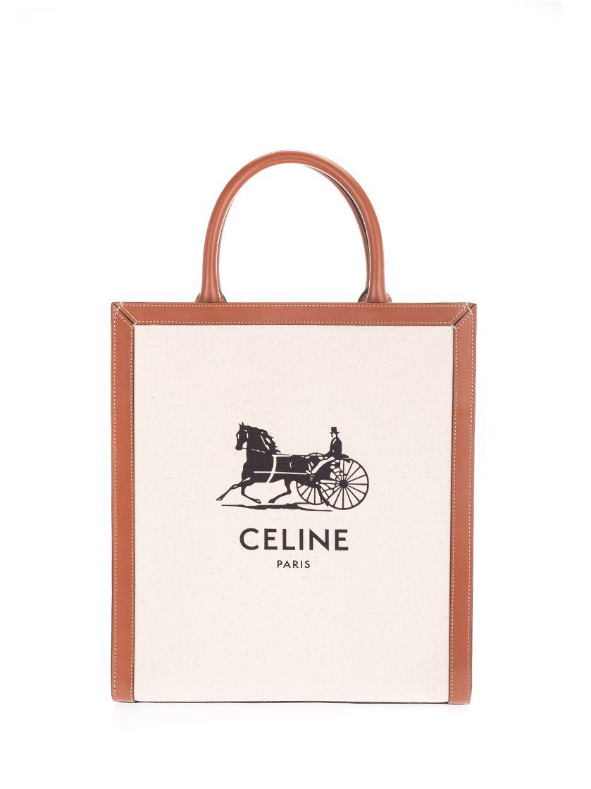 Celine Handbags CÉLINE WOMEN'S BEIGE FABRIC HANDBAG