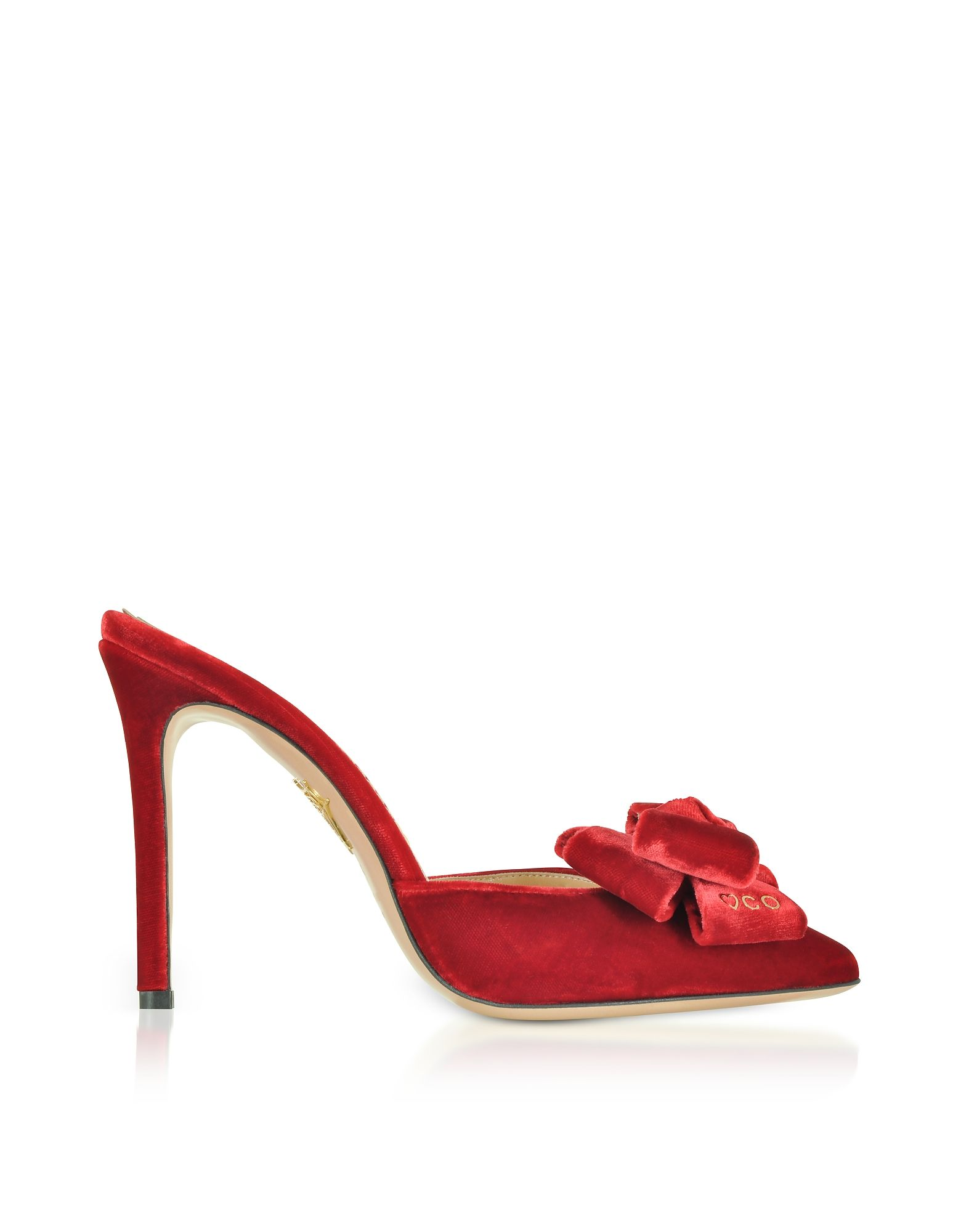 Charlotte Olympia Rose Red Velvet High Heel Bow Mules