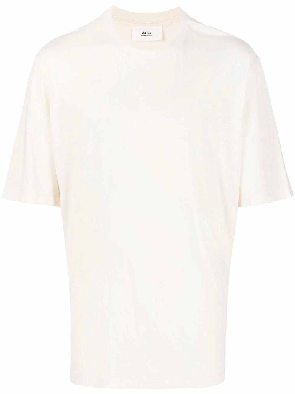 Ami Alexandre Mattiussi T-shirts AMI ALEXANDRE MATTIUSSI MEN'S BEIGE COTTON T-SHIRT