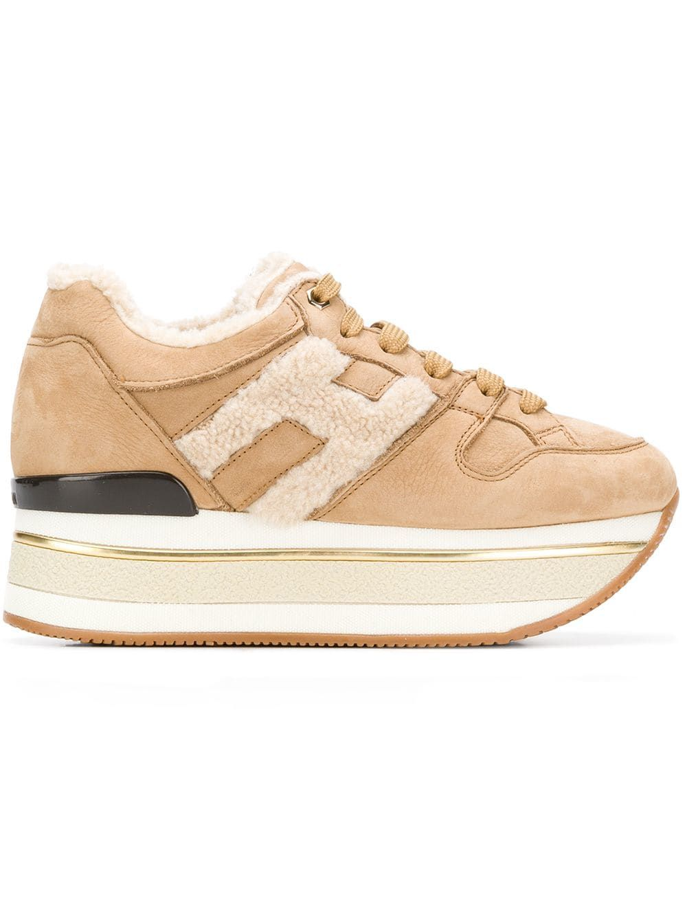 HOGAN HOGAN WOMEN'S BEIGE LEATHER SNEAKERS