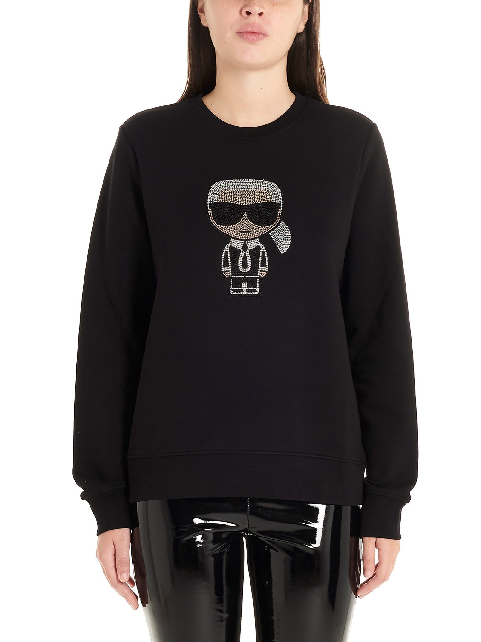 Karl Lagerfeld BLACK COTTON SWEATSHIRT