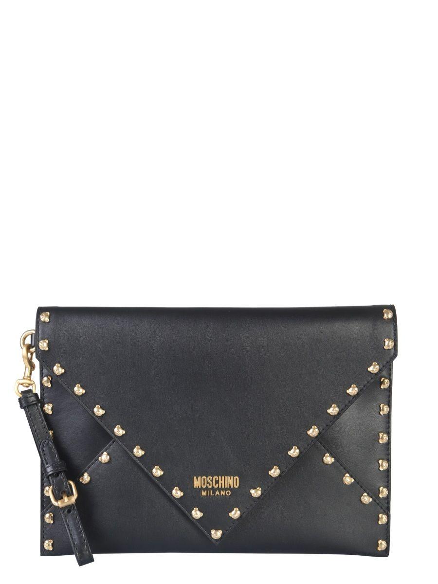 Moschino Black Leather Clutch
