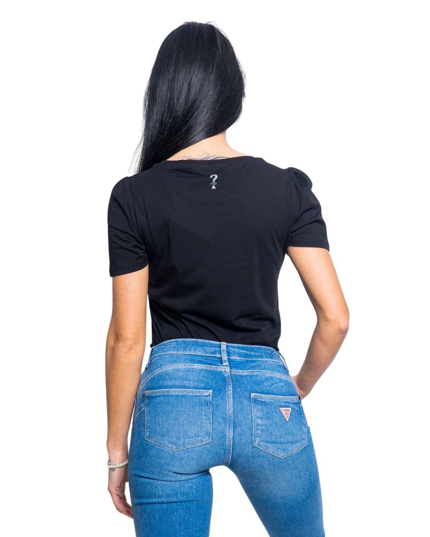 GUESS Cottons GUESS WOMEN'S BLACK COTTON T-SHIRT