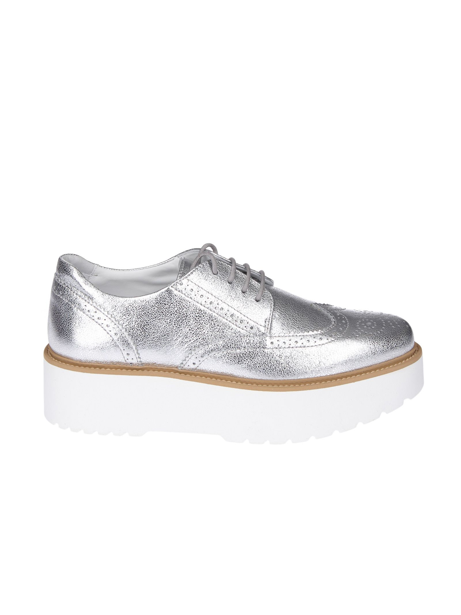 Hogan H355 Metallic Leather Derby Shoes In Silver