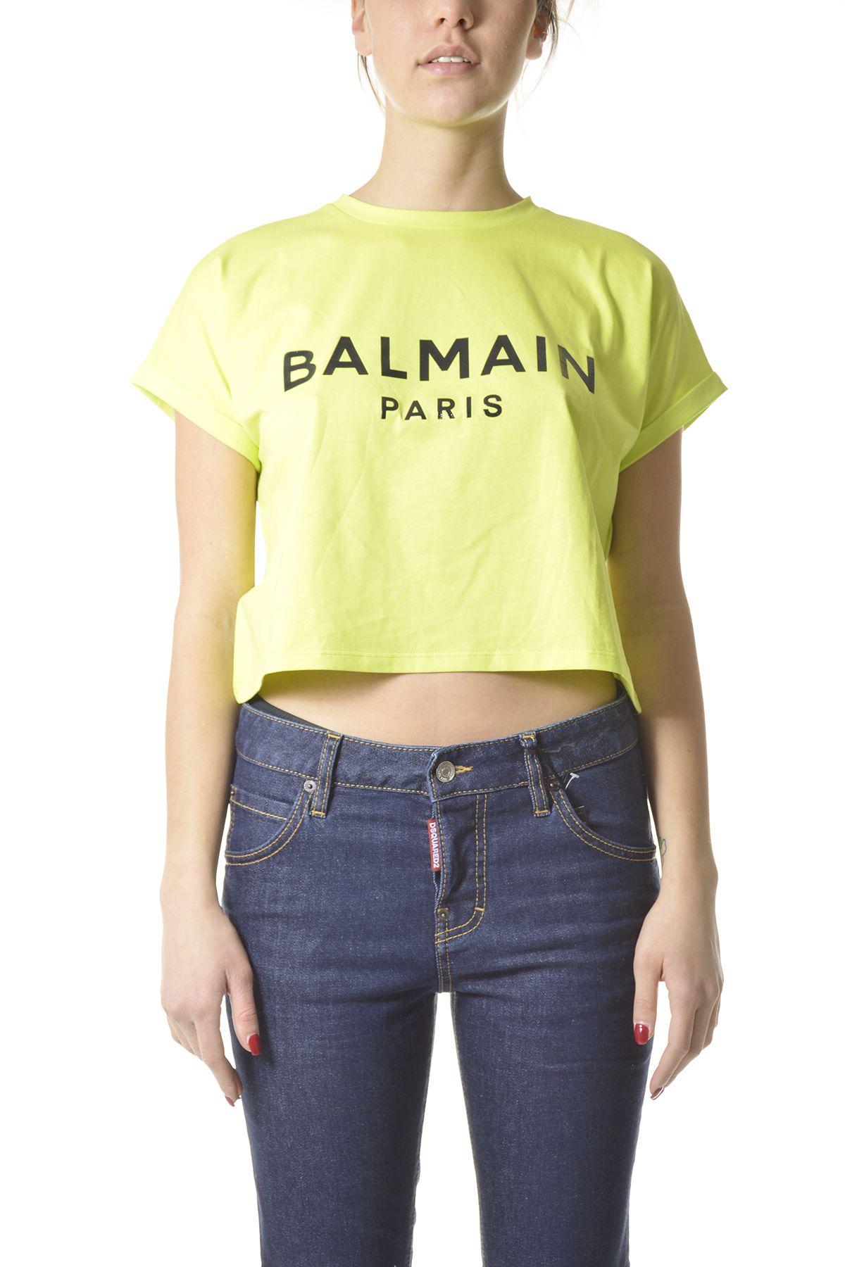 BALMAIN Cottons BALMAIN WOMEN'S GREEN COTTON T-SHIRT