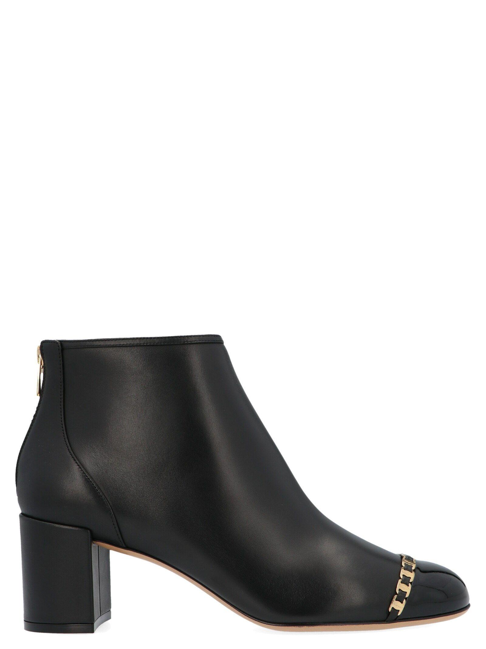 Salvatore Ferragamo Women's Black Leather Ankle Boots