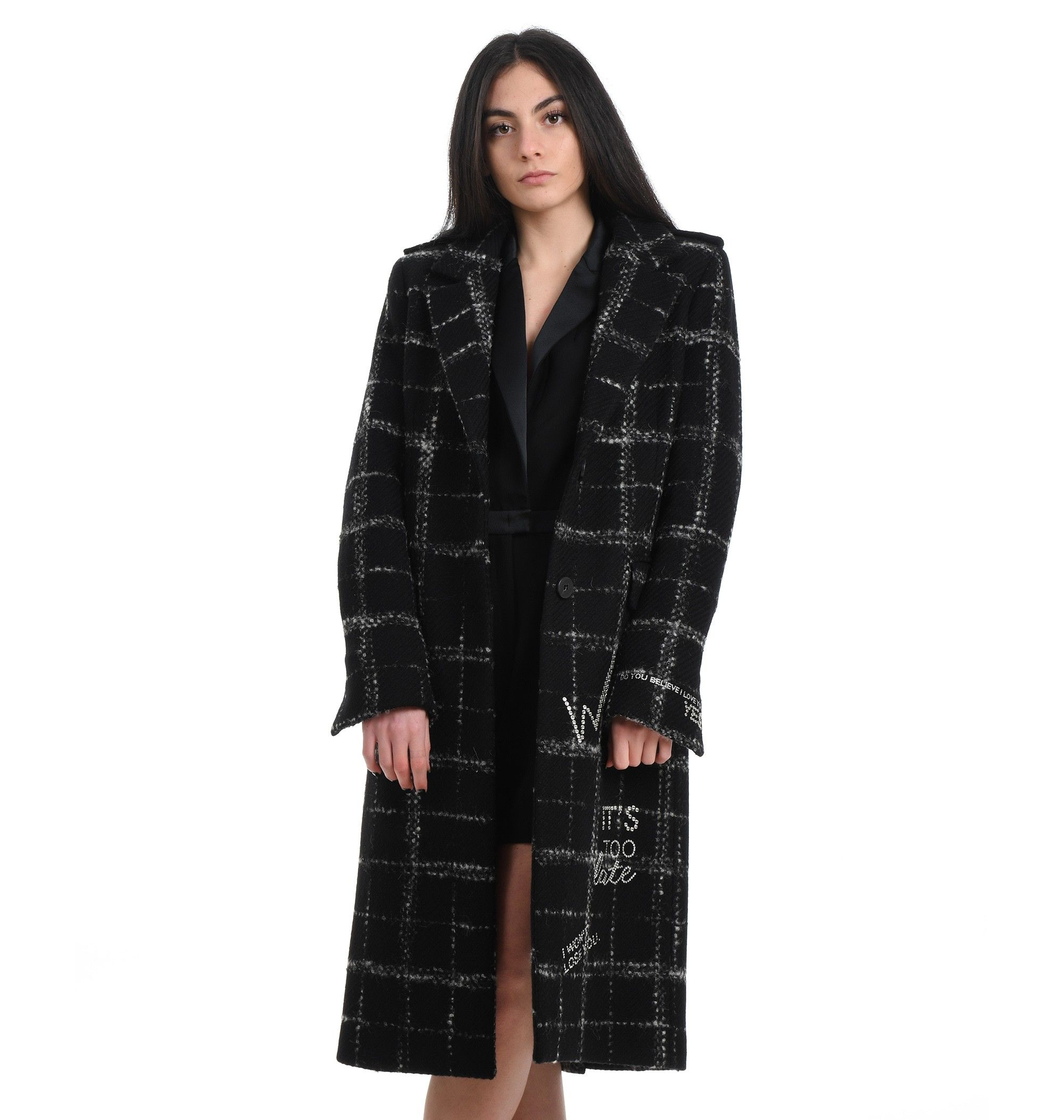Pinko PINKO WOMEN'S BLACK OTHER MATERIALS COAT