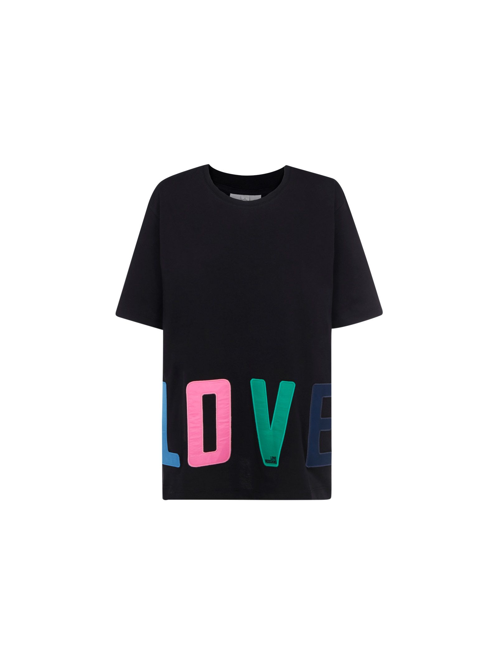 Love Moschino Cottons LOVE MOSCHINO WOMEN'S BLACK OTHER MATERIALS T-SHIRT