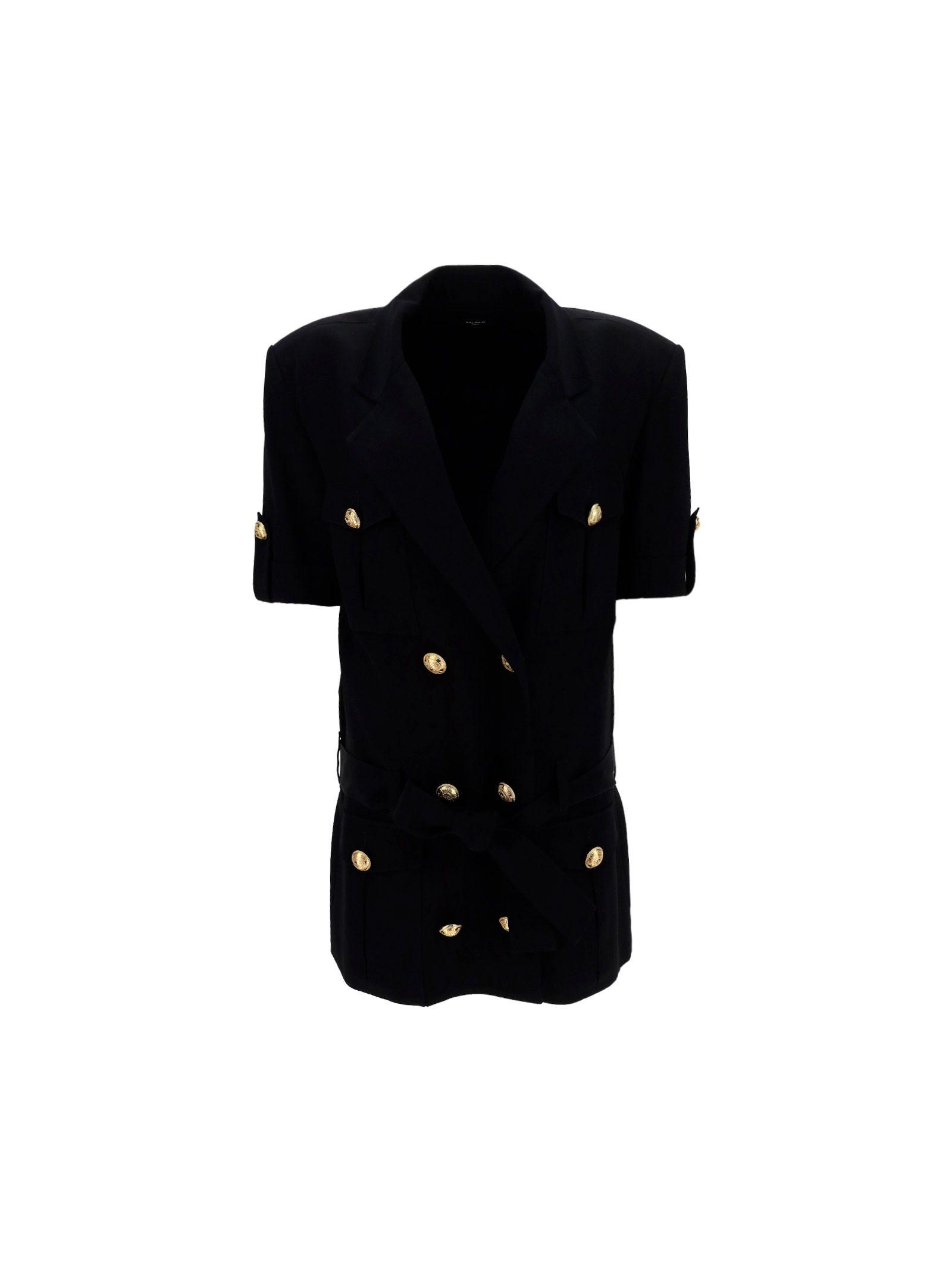 Balmain BALMAIN WOMEN'S BLACK OTHER MATERIALS DRESS