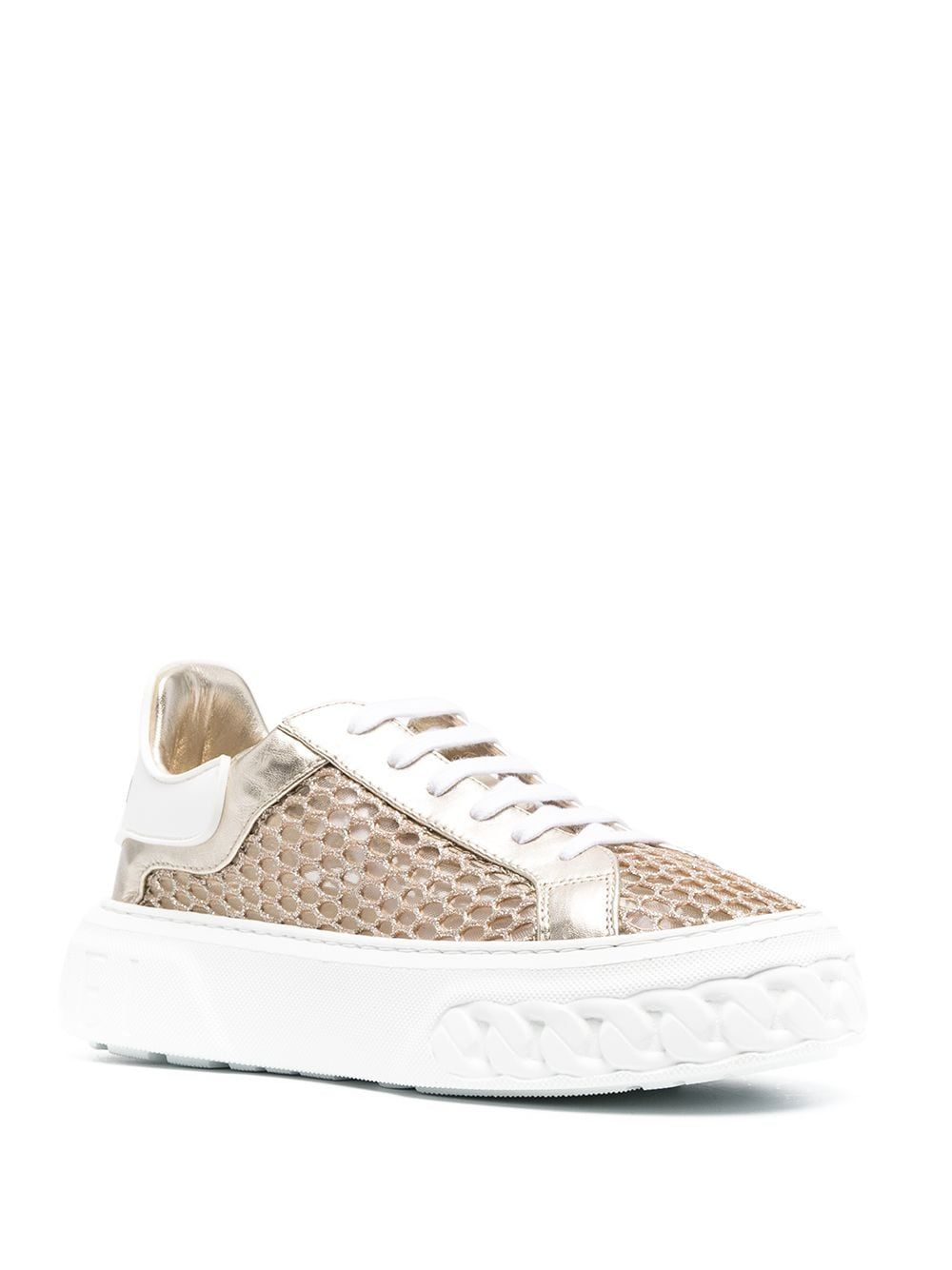 CASADEI Leathers CASADEI WOMEN'S GOLD LEATHER SNEAKERS