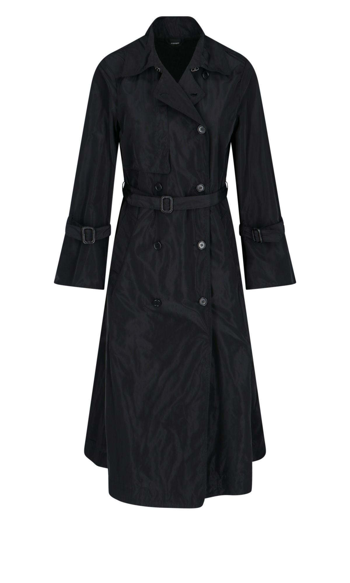 Aspesi ASPESI WOMEN'S BLACK POLYESTER TRENCH COAT