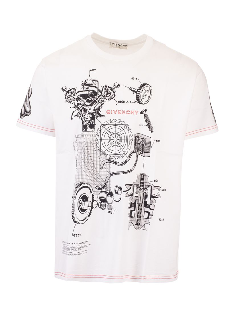 Givenchy GIVENCHY MEN'S WHITE OTHER MATERIALS T-SHIRT