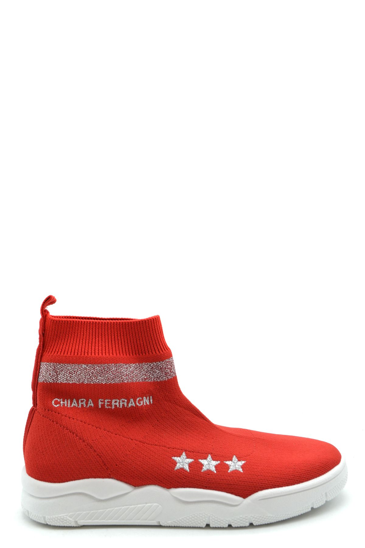 Chiara Ferragni Red Fabric Hi Top Sneakers