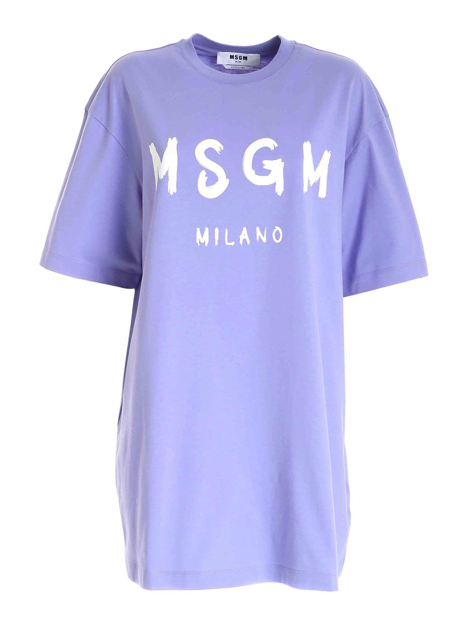 Msgm Cottons MSGM WOMEN'S PURPLE COTTON DRESS