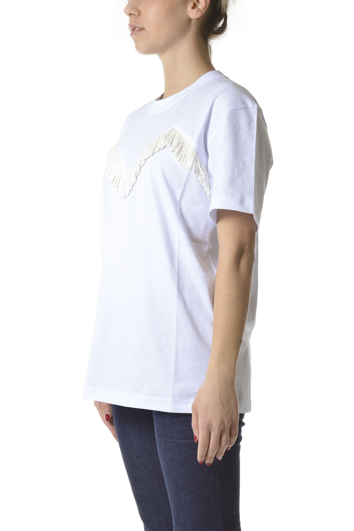 MSGM Cottons MSGM WOMEN'S WHITE COTTON T-SHIRT
