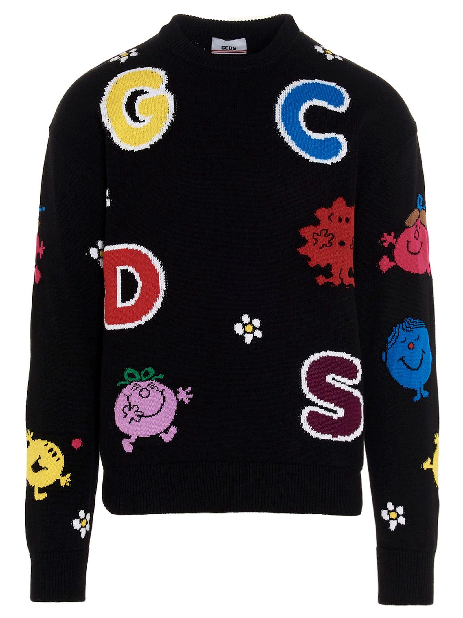 Gcds Cottons GCDS MEN'S BLACK OTHER MATERIALS SWEATER
